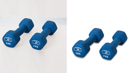 Before and after comparison with dumbbell clipping path