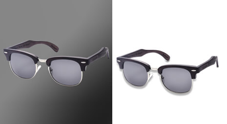Before and after comparison with sunglasses clipping path
