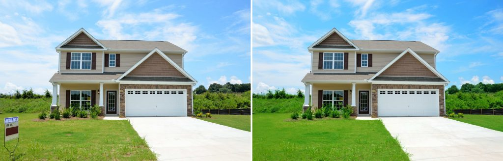 real estate image improve green effects and unwanted object removal